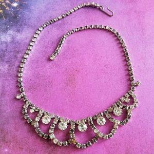 Vintage rhinestone necklace statement silver tone